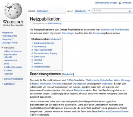 Screenshot Wikipedia Website